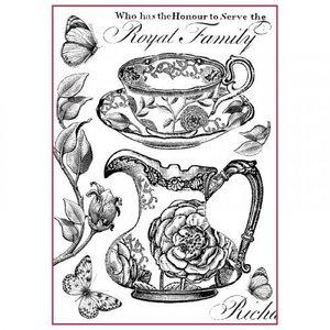 Stamperia Stamperia rijst A4 papier Koninklijke familie zwart / wit