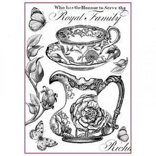 Stamperia und Florella Stamperia rijst A4 papier Koninklijke familie zwart / wit
