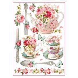 Stamperia und Florella Stamperia rijst A4 papieren bloemenmokken & theepotten