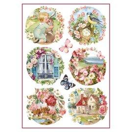 Stamperia Stamperia rispapir A4 blomsterlandskaber