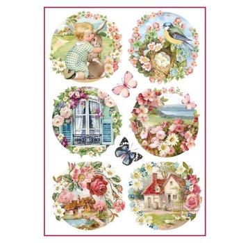 Stamperia Stamperia rijstpapier A4 bloemenlandschappen