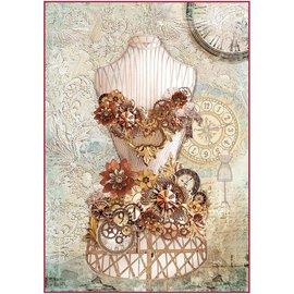 Stamperia und Florella Stamperia rijstpapier A4 met de wijzers van de klok mee Mannequin