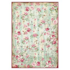 Stamperia und Florella Stamperia Papier de riz A4 Petites roses et écritures Texture