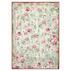Stamperia und Florella Stamperia Rice Paper A4 Pequeñas Rosas y Escrituras Textura