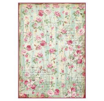 Stamperia Stamperia rijstpapier A4 kleine rozen en geschriften textuur