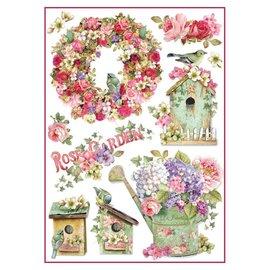 Stamperia und Florella Papier de riz Stamperia A4 Rose Garden