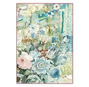Stamperia Stamperia Ris Papir A4 Blå Blomster Bouquet
