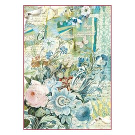 Stamperia und Florella Stamperia Papier de riz A4 Fleurs bleues Bouquet