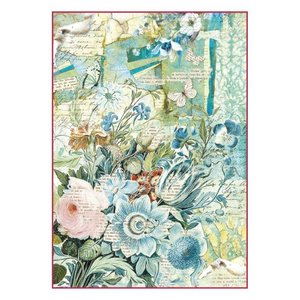 Stamperia Stamperia rijstpapier A4 blauw bloemen boeket