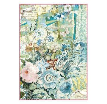 Stamperia Stamperia Carta di riso A4 Bouquet di fiori blu