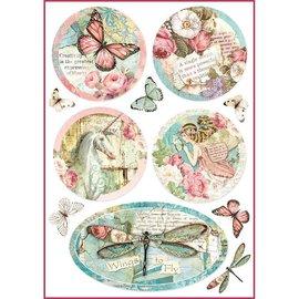 Stamperia und Florella Stamperia Ris Papir A4 Wonderland Fantasy Dekorationer