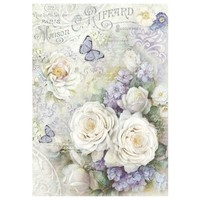 Stamperia Rice Paper A4 White roses & Lilac Butterflies