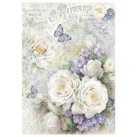 Stamperia und Florella Stamperia Rice Paper A4 Rosas blancas y mariposas de color lila