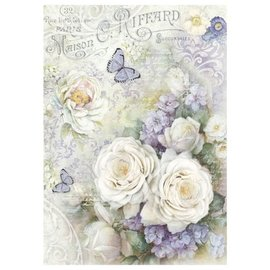 Stamperia und Florella Stamperia Rice Paper A4 White roses & Lilac Butterflies