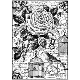 Stamperia und Florella Gabbia per uccelli A4 in carta stamperia di riso