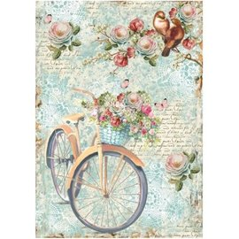 Stamperia Stamperia Rice Paper A4 Bike & Branch with Flowes