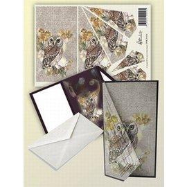 BASTELSETS / CRAFT KITS Kaartenset voor 1 opvouwbare kaart met mooie uilen motief!