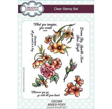 CREATIVE EXPRESSIONS und COUTURE CREATIONS Timbro trasparente: mazzo di fiori misti