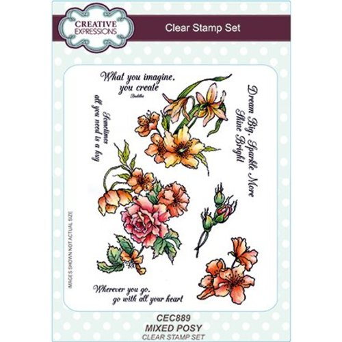 CREATIVE EXPRESSIONS und COUTURE CREATIONS Transparent stamp: mixed bunch of flowers
