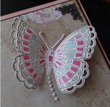 Marianne Design Marianne Design, stansning og prægning stencil + stempel: Sommerfugle