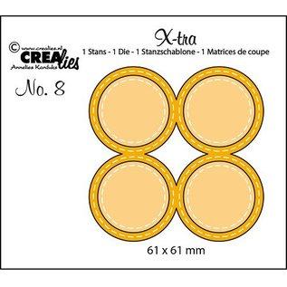 CREATIVE EXPRESSIONS und COUTURE CREATIONS snij en emboss mal / Sjabloon:  4 cirkels met stiklijnen
