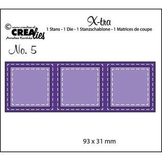CREATIVE EXPRESSIONS und COUTURE CREATIONS snij en emboss mal / Sjabloon:  3 vierkantjes met stiklijnen