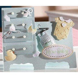 Crealies und CraftEmotions Punching template: baby clothes