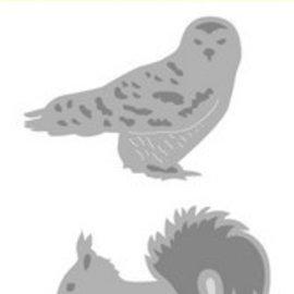 Crealies und CraftEmotions Skæring og prægning Skabelon: Ugle, Hedgehog og egern