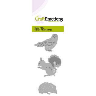 Crealies und CraftEmotions snij en emboss mal / Sjabloon: Uil, egel en eekhoorn