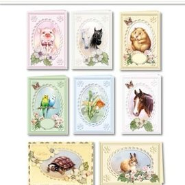 BASTELSETS / CRAFT KITS Juego de cartas Mascotas populares para 8 tarjetas Passepartout