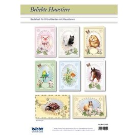 BASTELSETS / CRAFT KITS Card Set Animali domestici popolari per 8 carte Passepartout