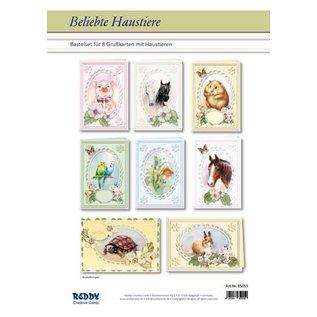 BASTELSETS / CRAFT KITS Kort sæt populære dyr til 8 Passepartout kort