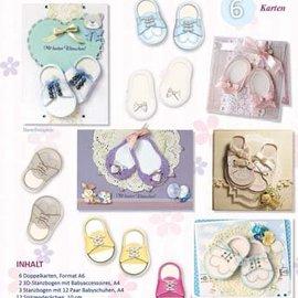 Bilder, 3D Bilder und ausgestanzte Teile usw... Kit completo para 6 tarjetas + sobres con zapatos de bebé! ÚLTIMO en stock!