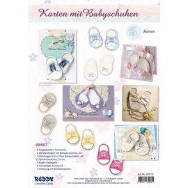 Bilder, 3D Bilder und ausgestanzte Teile usw... Bastelset für 6 Karten mit Babyschuhen