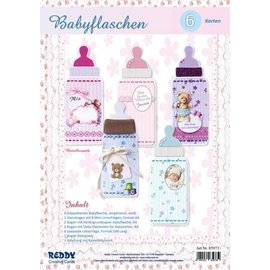 Bilder, 3D Bilder und ausgestanzte Teile usw... Bastelset für 6 Babyflaschenkarten
