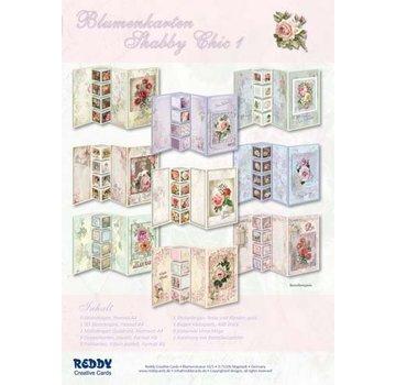 Vintage, Nostalgia und Shabby Shic Sæt med blomsterkort Shabby Chic, til at designe 9 foldekort!