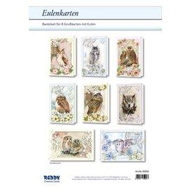 Bilder, 3D Bilder und ausgestanzte Teile usw... Komplettes Kartenset für 8 Passepartout Eulenkarten