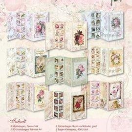 Vintage, Nostalgia und Shabby Shic Conjunto de tarjetas florales Shabby Chic, para diseñar 9 tarjetas plegables