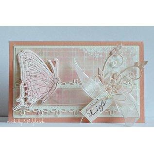 Marianne Design Snij  en embossing sjabloon + Stempel: Vlinders