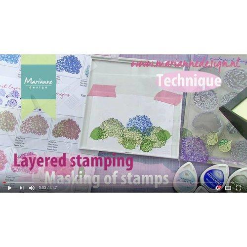 Sie eine Demonstration in diesem Video  mit Layered Stempel Hortensie von Tiny Harts von Marianne Design!