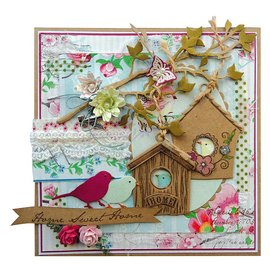 Marianne Design Stamping and Embossing stencil + stamp, birdhouse: Flowers