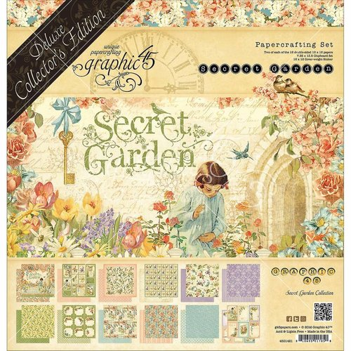 GRAPHIC 45 Graphic 45 Secret Garden 12x12 Pouces Complet, Collectors Deluxe Editon