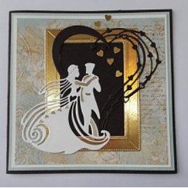 Tattered Lace Snij  en embossing sjabloon:  trouwpaar / koppel dat danst