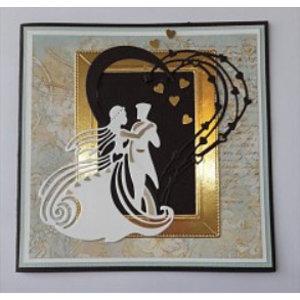 Tattered Lace modèle de coupe et de gaufrage: Couple de mariage dansant