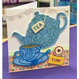 Docrafts / X-Cut Snij  en embossing sjabloon:  Filigrane Tea Time