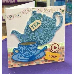 Docrafts / X-Cut Snij  en embossing sjabloon:  Filigrane Tea Time
