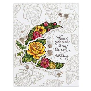 Spellbinders und Rayher Stempel + ponssjabloon, rozen