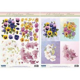 Bilder, 3D Bilder und ausgestanzte Teile usw... 3D geslagen blad SET, bloemmotieven