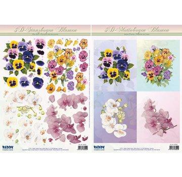 Bilder, 3D Bilder und ausgestanzte Teile usw... 3D stanset ark SET, blomstermotiver