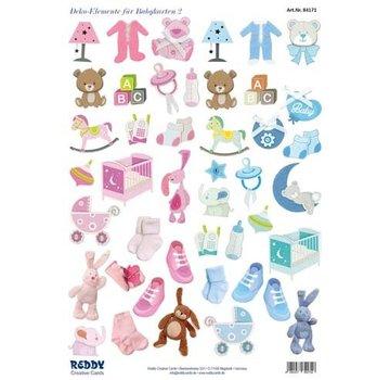 Bilder, 3D Bilder und ausgestanzte Teile usw... NYHED! 45 stykker med baby tilbehør, fra 240 g!